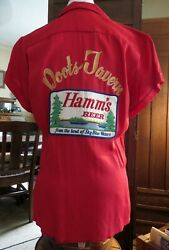 1950s Vintage Bowling Shirt Doots Tavern Hamms Beer King Louie Mid Century Nmint