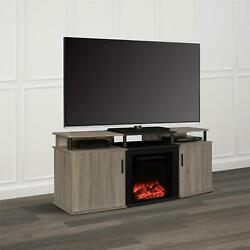 Ameriwood Home Carson Electric Fireplace Tv Console For Tvs Up To 70, Oak
