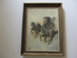 Antique Oil Painting Illustration Art 1910's Western Wagon Horse Cowboy Art Old