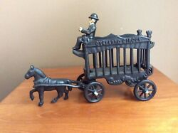 Vintage Overland Circus Cast Iron Horse-drawn Wagon With Driver Jm109
