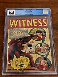 The Witness 1 Cgc 6.5. 1948 Stan Lee Story. Charles Nicholas Cover.