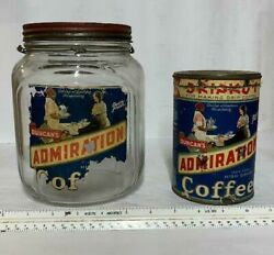 Lot 2 Vintage Duncan's Admiration Coffee Advertising Can And Glass Jar