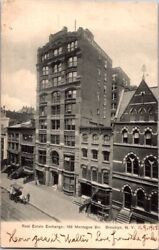 Postcard Real Estate Exchange 189 Montague St. Brooklyn Ny New York 1908  F-216