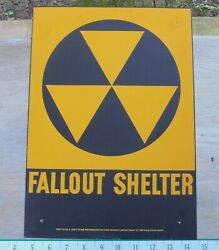 Vintage Early And03960s Original Fallout Shelter Sign/galv.steel 10x14 -new/unused