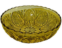 Vintage Amber Honey Gold Glass Bowl With Star Medallion Cameo By Anchor Hocking