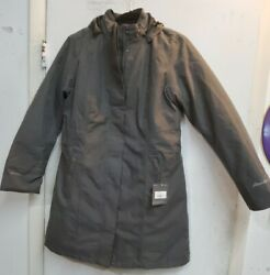 Eddie Bauer 7347 Girl On The Go Insulated Trench Coat With Hood Ladies Lg --d4
