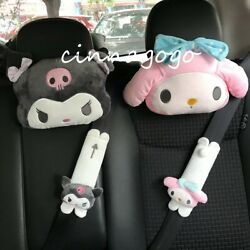 4x Kuromi My Melody Auto Car Neck Pillow Headrest And Seat Belt Cover Shoulder Pad