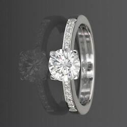 Solitaire And Accents Diamond Ring Round Shape 1.04 Ct 18 Karat White Gold New