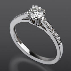Solitaire Accented Diamond Ring Round Vs1 D Natural 18k White Gold 1.23 Carats