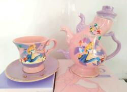 Disney Store Japan Teapot And Tea Cup Set Alice In Wonderland 70th Ann. New