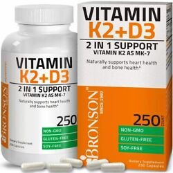 Bronson Vitamin K2 + D3 2 In 1 Support Supplement For Bone And Heart Health. 250