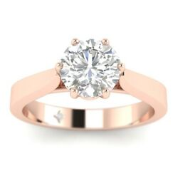 0.75ct D-si1 Diamond Round Engagement Ring 18k Rose Gold Any Size