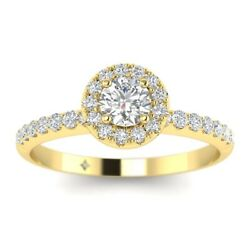 1ct D-si1 Diamond Single Halo Engagement Ring 14k Yellow Gold Any Size