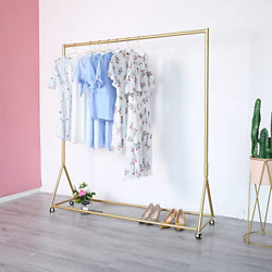 Gold Clothing Rack, Boutique Display Clothes Rack With Wheels, Modern Garment L