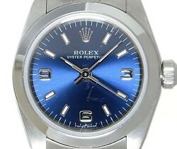 Rolex Oyster Perpetual 76080 Automatic Blue Dial Stainless Steel Ladies