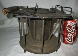 Antique C. 1859 Usa Country Primitive Stove Iron Tin Mica Heater Lamp Fire Tool