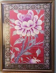 Antique Vintage Chinese Silk Embroidery Lotus Flower Bat Possibly Qing Dynasty