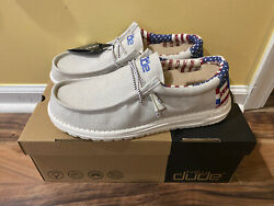 Hey Dude Shoes Men's Wally Patriotic American Flag Off-white Red Blue 11 12 13
