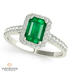 1.00 Ct. Natural Emerald Ring With 0.25 Ctw. Diamond Halo - 18k White Gold