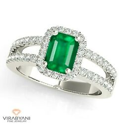 1.00 Ct. Natural Emerald Ring With 0.50 Ctw. Diamond Halo - 14k White Gold