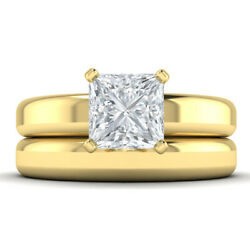 1.2ct D-si2 Diamond Wide Engagement Ring 14k Yellow Gold Any Size