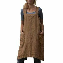 Cotton Linen Apron Cross Back Apron For Women With Pockets Pinafore Dress For...