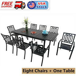 Patio Dining Set Of 9 Extendable Table Stackable Metal Chairs Outdoor Furniture