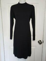 Eileen Fisher Womens Tunic Top Side Slit Mock Long Sleeves Soft Stretch Size Xs