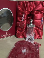 Waterford Crystal Baby's 1st Christmas Bottle Ornament W/ Box, Pouch And Hook