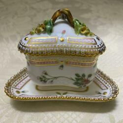 Royal Copenhagen Flora Danica Custard Cup And Tray With Lid Triangle Denmark Gold