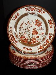 10 Vintage Copeland Spode India Tree Indian Rust Luncheon Plates Old Mark Euc