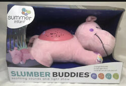 Summer Slumber Buddies Projection and Melodies Soother Dozing Hippo Pink