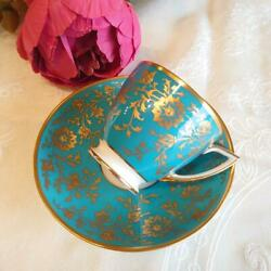 Antique Minton Cup And Saucer Blue Hand Paint Gold Bone China England Retro