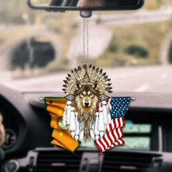 Cherokee Nation And United States Flag Native American Wolf Car Interior Decor