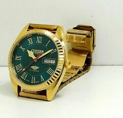 Vintage Used Citizen Automatic 36 Mm Gold Plated Men's Wrist Watches