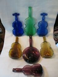 Lot Of 7 Glass Instrument Bottles, 6 Violins And 1 Banjo, Green Blue Yellow Purple