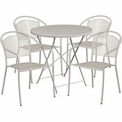 30in Round Metal Folding Patio Table Set W/4 Round Back Chairs Light Gray