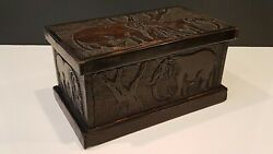 Vintage Hand Carved Wooden Box Chest Elephants African Art 5.5hx6dx10w 2kg