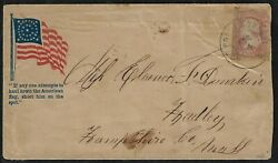 Us 1860s Civil War Patriotic Cover W/ Slogan If Anyone Attempts To Haul Down The