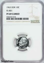 1963 Ddr Fs-801 Roosevelt Dime Ngc Pf69 Cameo 1 Of 1 Top Pop X7-537-018