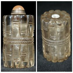 Chinese Glass Snuff Bottle Antique Carved Glass Snuff Bottles Snuffbox Clear Art