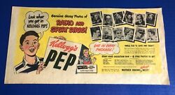 """1948 Kellogg's Pep Cereal Ad """"radio And Sport Stars"""" Paul Trout Norm Standlee"""