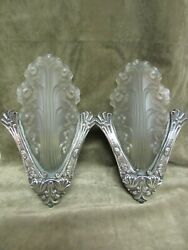 Vintage 1930and039s Art Deco France Rare Corner Wall Sconce Pair Slip Shade Floral