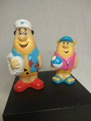 Vintage Fred Flintstone And Barney Rubble Plastic Collectible Toys Summer Beach