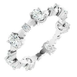 1.33 Ct. Oval And Round Diamond Eternity Band Stackable Ring 14k White Gold