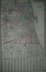 Rare Vintage 1878 Atlas Map Chicago Illinois Old And Authentic Free Sandh