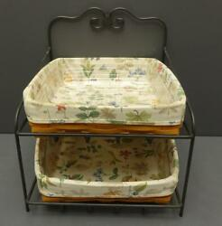 Longaberger Wrought Iron 2 Tier Paper Tray Stand W/ Baskets, Liners, Protectors