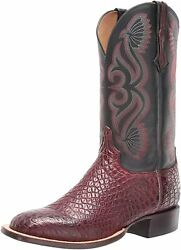 Lucchese Mens Roy Alligator Square Toe Western Cowboy Dress Boots Mid Calf -...