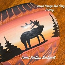 Vintage Navajo Native American Carved Red Clay Pottery Bowl Perfina Rockwell