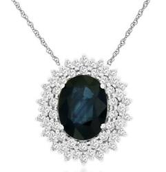 1.80ct Diamond And Aaa Sapphire 14kt White Gold 3d Oval Flower Floating Pendant